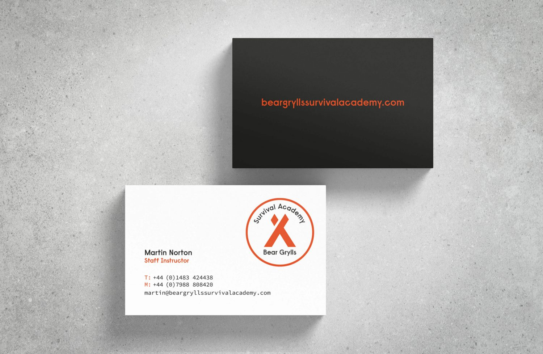 Bear Grylls Survival Academy business card case study
