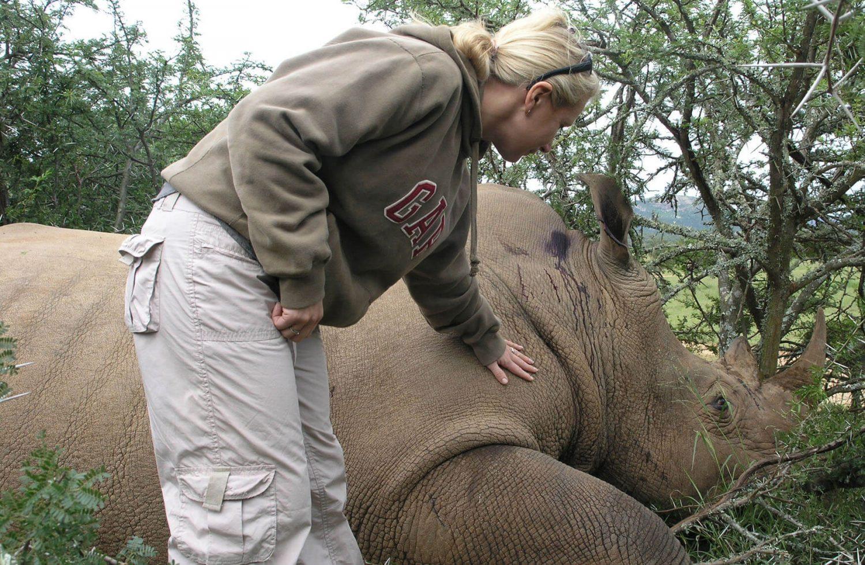 Sam and Rhino in Africa