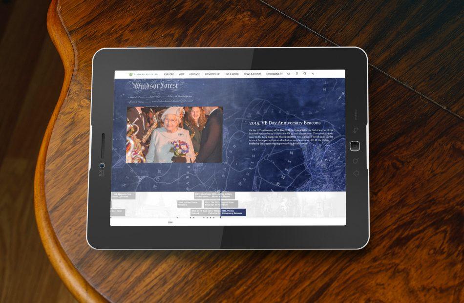 Windsor Great Park website on tablet