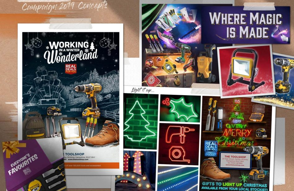 Toolbank seasonal campaign case study - display of concepts