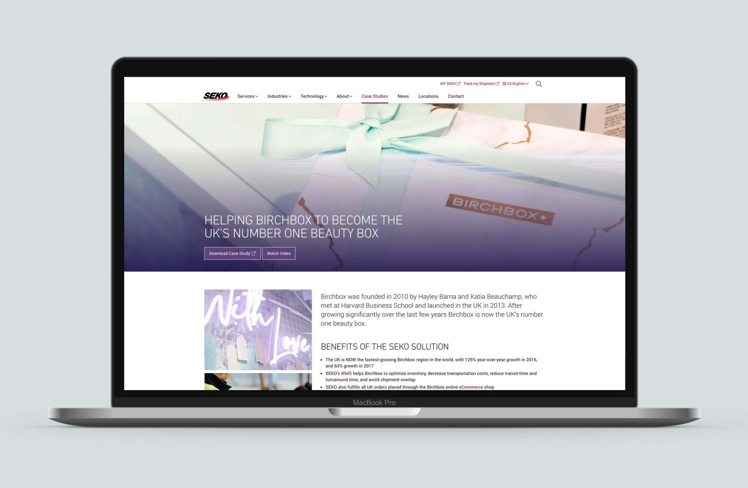 SEKO Birchbox case study - website view