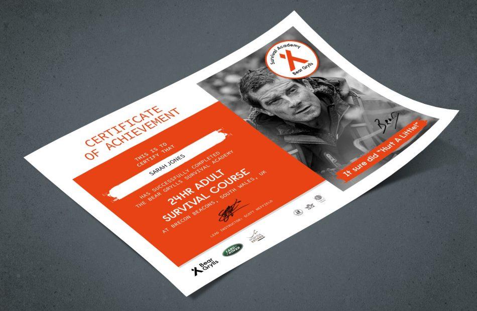 Bear Grylls Survival Academy - Certificate of achievement poster case study