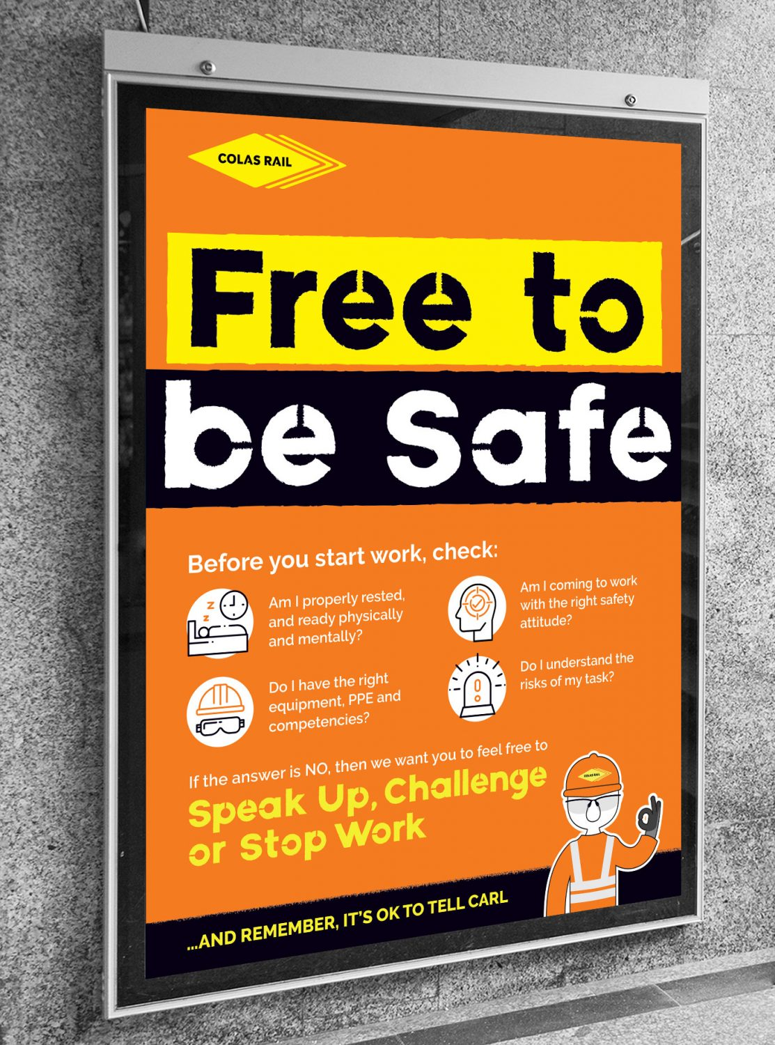 Colas Rail free to be safe poster from case study